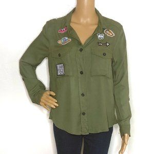 H&M Army Green Lady Boss Patch Button Down Blouse